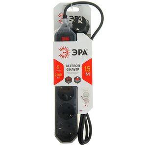 Сетевой фильтр ЭРА (черный) с заземлением, 3х0.75мм, 5 гнезд, выключ, 1,5м