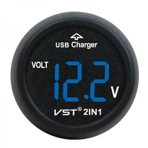 VST-706V-5 авто (вольтметр, ЗУ) син.цифры