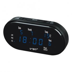 Часы электронные VST801WX-5 синие цифры (дата, температура)+блок