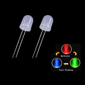 Светодиод 10мм, 3V Красно - синий мигающий часто