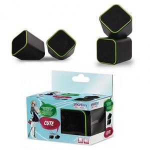 Колонки мультимедийные SmartBuy CUTE , мощность 6Вт, USB, черно-зеленые (SBA-2580)