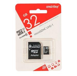 Smart Buy micro SDHC 32GB Class10 UHS-I (с адаптером SD)