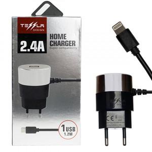 Сетевое зарядное устройство Tessla TL-19 USB 5V2,4A + iPhone 6 1,2m
