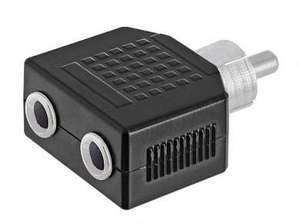 Переходник штекер RCA - 2 гнезда 3.5 мм моно Ni/Pl