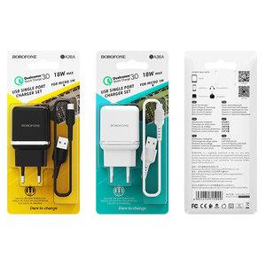 Сетевое зарядное устройство Borofone BA36A + micro USB (быстрая зарядка QC3.0)