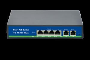 SVB-604 PC 4-х портовый PoE-коммутатор: - 2 uplink порта; - возможность передачи информации на 250 м;