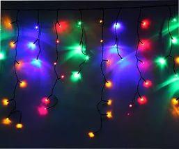Гирлянда бахрома 100шт светод.ламп, 2*0.65м (4-6-4-6), контроллер, мульти